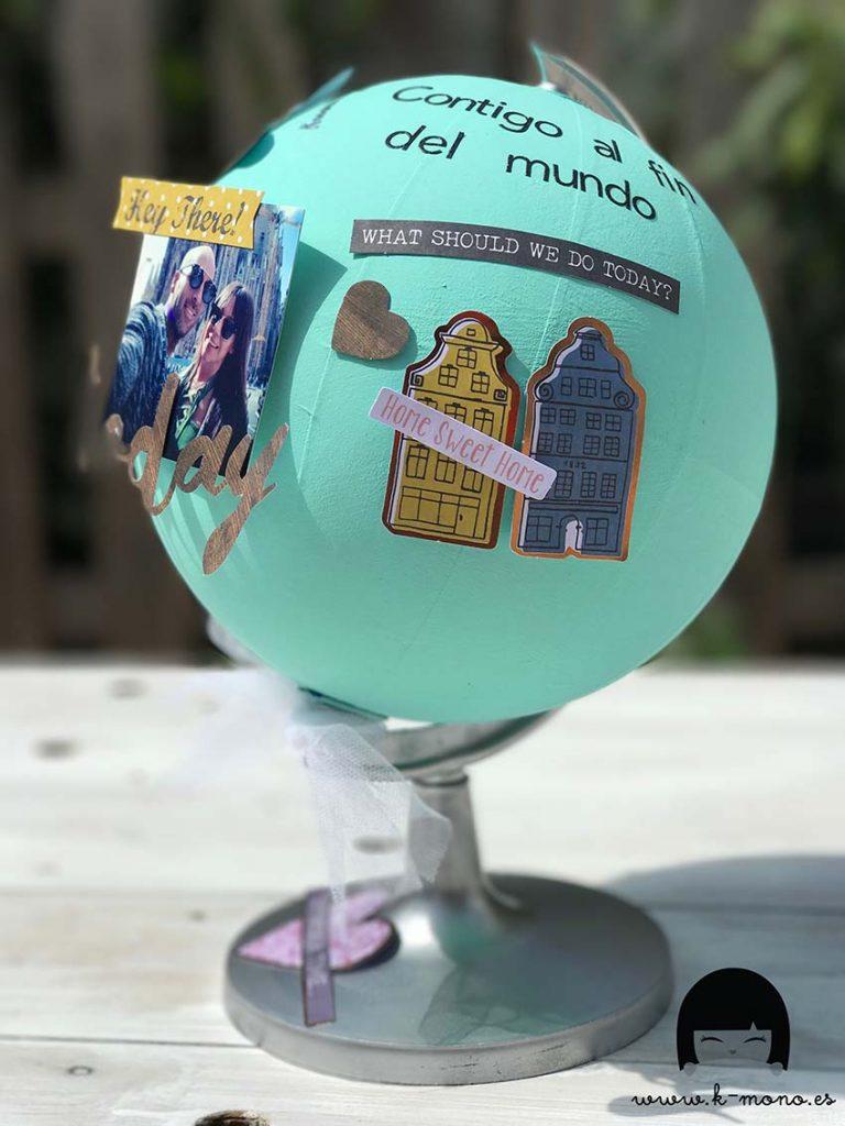 Bola del mundo decorada sandra k mono scrap collection - Bola del mundo decoracion ...